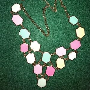 Anthropologie hexagon enamel bib necklace NWOT